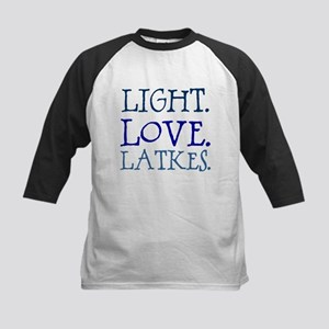 Light. Love. Latkes. Kids Baseball Jersey