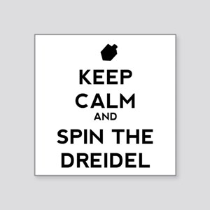 "Keep Calm and Spin the Dreidel Square Sticker 3"" x"