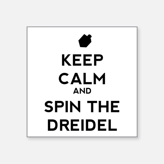 """Keep Calm and Spin the Dreidel Square Sticker 3"""" x"""