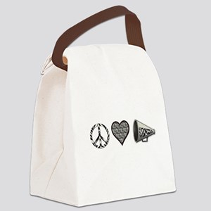 Peace, Love Cheer zebra print Canvas Lunch Bag