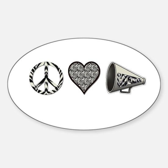 Peace, Love Cheer zebra print Sticker (Oval)