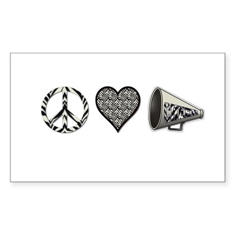 Peace, Love Cheer zebra print Sticker (Rectangle)