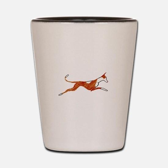 Leaping Ibizan Hound Shot Glass