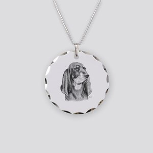 Black and Tan Coon Hound Necklace Circle Charm