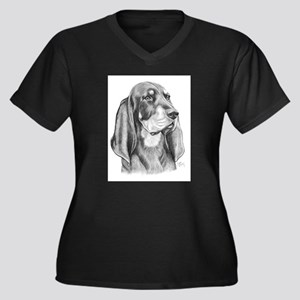 Black and Tan Coon Hound Women's Plus Size V-Neck