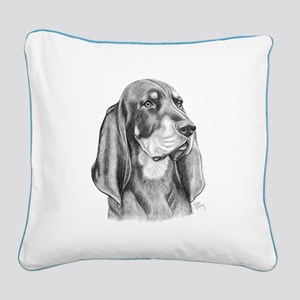 Black and Tan Coon Hound Square Canvas Pillow