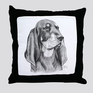 Black and Tan Coon Hound Throw Pillow