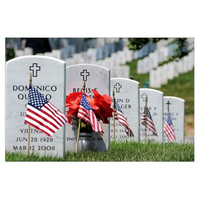 American flags placed in the front of headstones a Poster