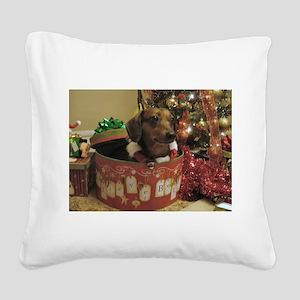 Christmas Dachshund Square Canvas Pillow