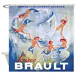 Vintage Mermaid Champagne Shower Curtain