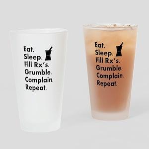 pharmacy eat sleep grumble Drinking Glass