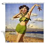 Vintage Woman Beach Starfish Shower Curtain