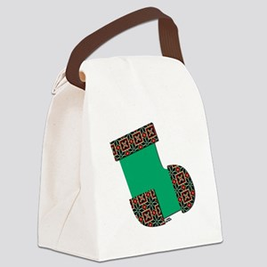 Xmas Stocking Green Canvas Lunch Bag
