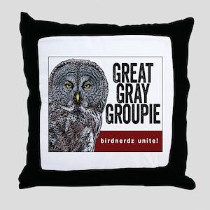 Great Gray Groupie Throw Pillow