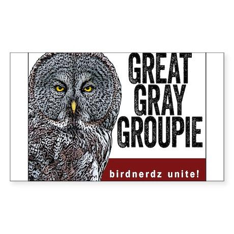Great Gray Groupie Sticker (Rectangle)