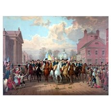 Digitally restored Revolutionary War painting of G Poster