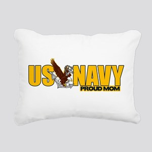 Proud Navy Mom Rectangular Canvas Pillow