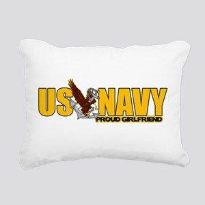 Proud Navy Girlfriend Rectangular Canvas Pillow