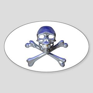 Metal Pirate Oval Sticker