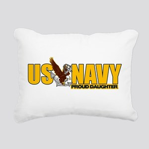 Proud Navy Daughter Rectangular Canvas Pillow