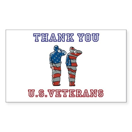 Thanks to our U.S. Vets Sticker (Rectangle 10 pk)