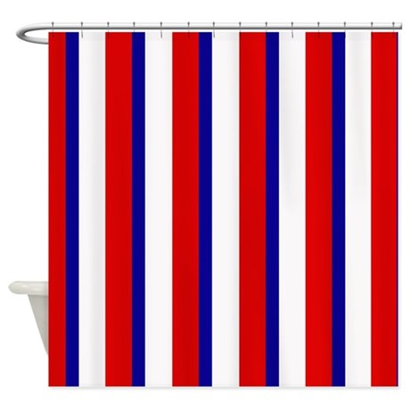 red white and blue stripes shower curtain by cheriverymery. Black Bedroom Furniture Sets. Home Design Ideas