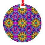 Pink Retro Pattern Round Ornament