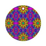 Pink Retro Pattern Ornament (Round)
