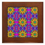 Pink Retro Pattern Framed Tile