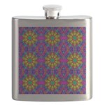 Pink Retro Pattern Flask