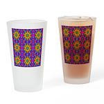 Pink Retro Pattern Drinking Glass