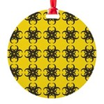 Yellow and Black Tribal Pattern Round Ornament