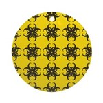 Yellow and Black Tribal Pattern Ornament (Round)