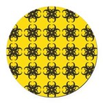 Yellow and Black Tribal Pattern Round Car Magnet