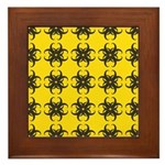Yellow and Black Tribal Pattern Framed Tile