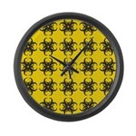 Yellow and Black Tribal Pattern Large Wall Clock