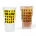 Yellow and Black Tribal Pattern Drinking Glass