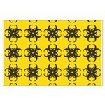 Yellow and Black Tribal Pattern Large Poster