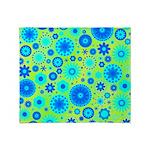 Turquoise Blue Hippie Flower Pattern Stadium Blan