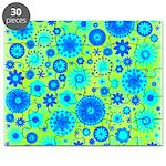 Turquoise Blue Hippie Flower Pattern Puzzle