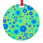 Turquoise Blue Hippie Flower Pattern Round Ornamen