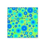 Turquoise Blue Hippie Flower Pattern Square Sticke