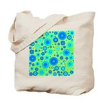 Turquoise Blue Hippie Flower Pattern Tote Bag