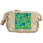 Turquoise Blue Hippie Flower Pattern Messenger Bag