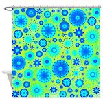 Turquoise Blue Hippie Flower Pattern Shower Curtai