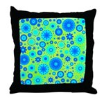Turquoise Blue Hippie Flower Pattern Throw Pillow