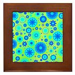 Turquoise Blue Hippie Flower Pattern Framed Tile
