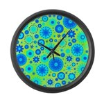 Turquoise Blue Hippie Flower Pattern Large Wall Cl