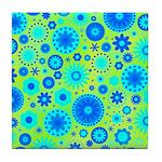 Turquoise Blue Hippie Flower Pattern Tile Coaster