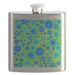 Turquoise Blue Hippie Flower Pattern Flask